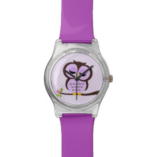 Cute Purple Owl and Polka Dots Watch