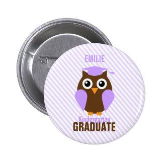 Cute Purple Owl Kindergarten Graduate 2 Inch Round Button