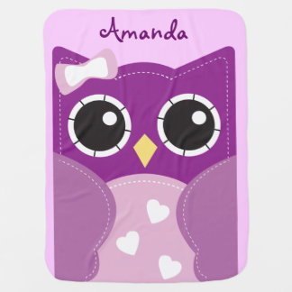 Cute Purple Owl Personalized Baby Blanket