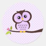 Cute Purple Owl Round Sticker