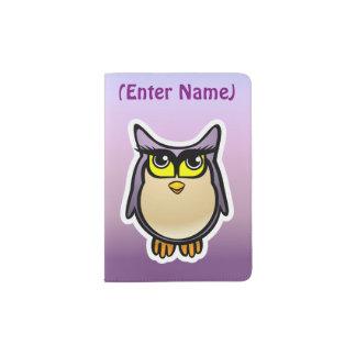 Cute Purple Owl With Big Eyelashes Passport Holder
