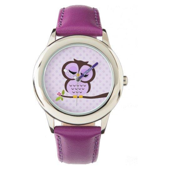Cute Purple Owl Wristwatch
