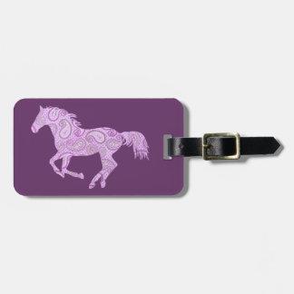 Cute Purple Paisley Horse Bag Tag