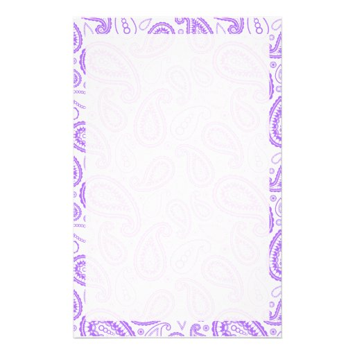 Cute Purple Paisley Stationery Paper