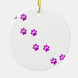 cute purple pawprints ceramic ornament