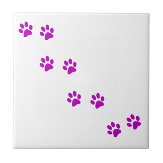 cute purple pawprints tile