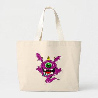 Cute Purple People Eater Monster Large Tote Bag