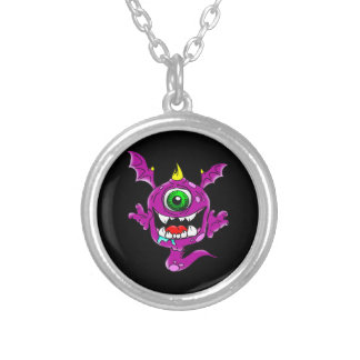 Cute Purple People Eater Monster Silver Plated Necklace