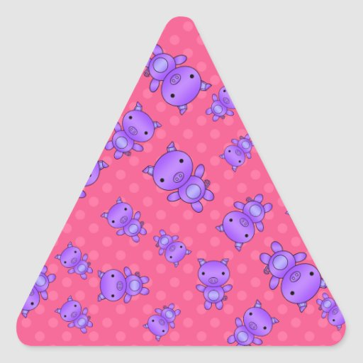 Cute purple pig pink polka dots triangle stickers