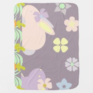 cute purple & pink bunnies ,ribbons Baby Blanket