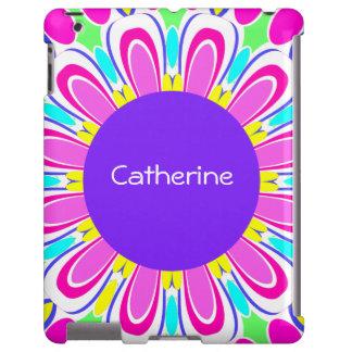 Cute Purple Pink Retro Flower Custom iPad Case