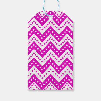 Cute Purple Polkadot Zigzags Gift Tags
