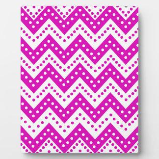 Cute Purple Polkadot Zigzags Plaque
