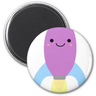 Cute Purple Rocket Ship 2 Inch Round Magnet