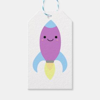 Cute Purple Rocket Ship Gift Tags