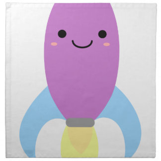Cute Purple Rocket Ship Napkin