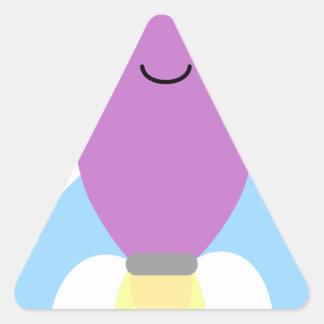 Cute Purple Rocket Ship Triangle Sticker