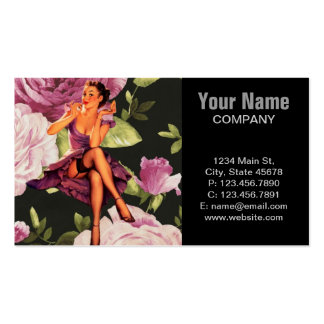 cute purple rose pin up girl vintage fashion Double-Sided standard business cards (Pack of 100)
