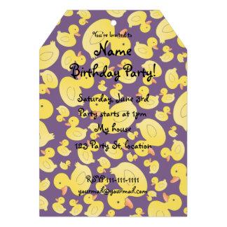 Cute purple rubber ducks personalized invitation