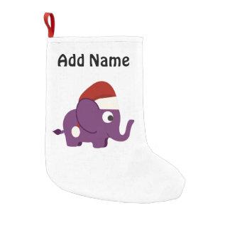 Cute Purple Santa Elephant Small Christmas Stocking