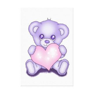 Cute Purple Teddy Bear Stretched Canvas Prints