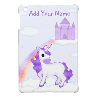 Cute Purple Unicorn with Castle Cartoon Cover For The iPad Mini