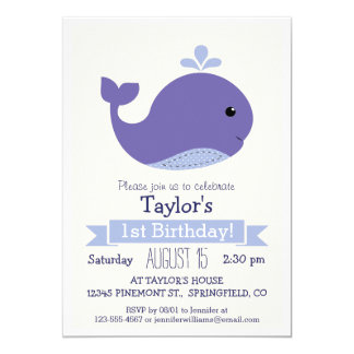 Cute Purple Whale Kid's Birthday Party Card