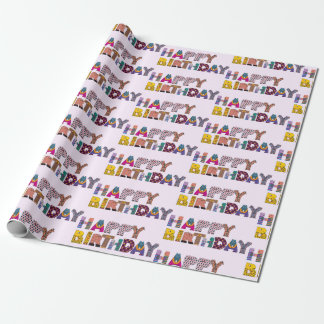 Cute Purple Whimsical Happy Birthday Letters Gift Wrapping Paper