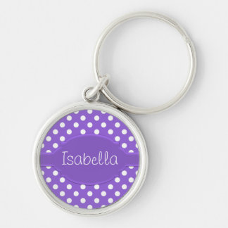 Cute Purple & White Polka Dot Pattern & Nameplate Silver-Colored Round Keychain