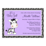 "Cute Purple Zebra Girl Baby Shower 5"" X 7"" Invitation Card"