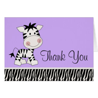 Cute Purple Zebra Thank You Cards