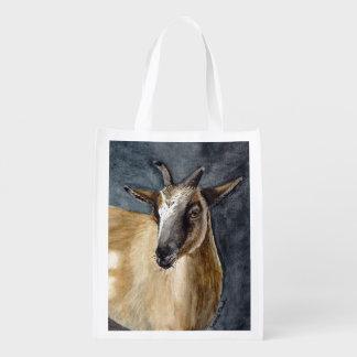 Cute Pygmy Goat Watercolor Artwork Grocery Bags