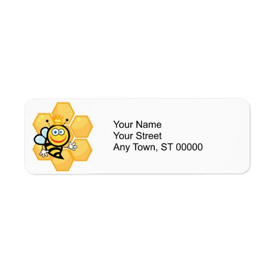 cute queen bee and beehive return address label