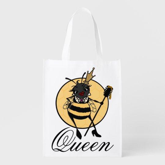 CUTE QUEEN BEE REUSABLE SHOPPING BAG REUSABLE GROCERY BAGS
