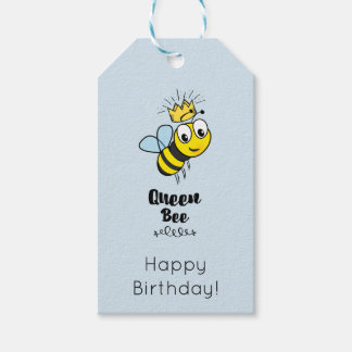 Cute Queen Bee with Crown Happy Birthday Pack Of Gift Tags