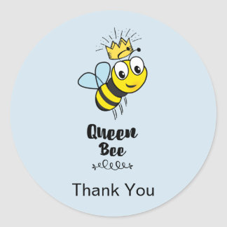 Cute Queen Bee with Crown Thank You Round Sticker