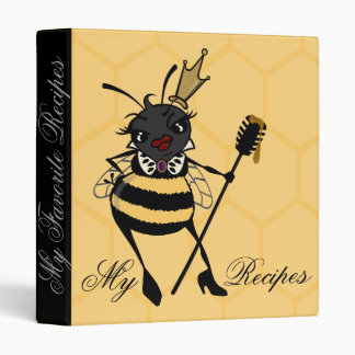 CUTE QUEEN BEE WITH HONEYCOMB RECIPE 3 RING BINDER