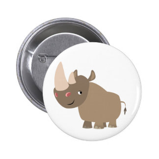 Cute Quiet Cartoon Rhino 2 Inch Round Button
