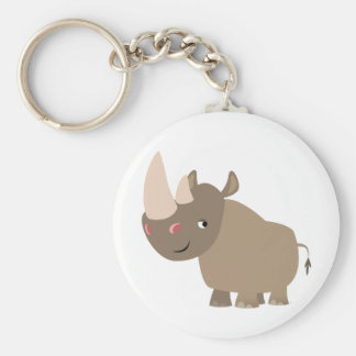 Cute Quiet Cartoon Rhino Keychain