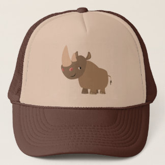 Cute Quiet Cartoon Rhino Trucker Hat