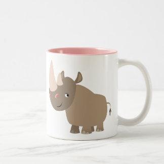 Cute Quiet Cartoon Rhino Two-Tone Coffee Mug