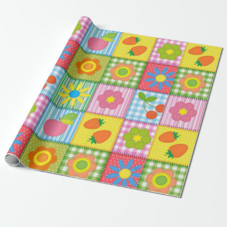 Cute Quilted Flower Wrapping Paper