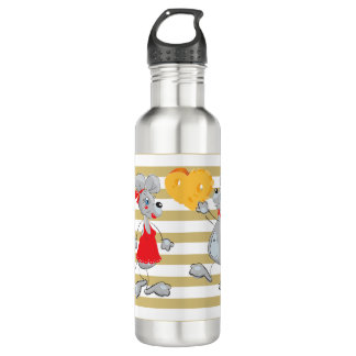 Cute Quirky Whimsical  Mouses-Stripes 710 Ml Water Bottle