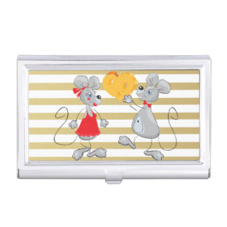 Cute Quirky Whimsical  Mouses-Stripes Business Card Case