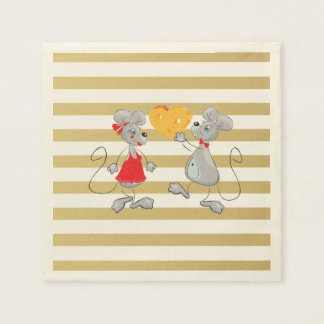 Cute Quirky Whimsical  Mouses-Stripes Disposable Napkin