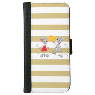Cute Quirky Whimsical  Mouses-Stripes iPhone 6 Wallet Case