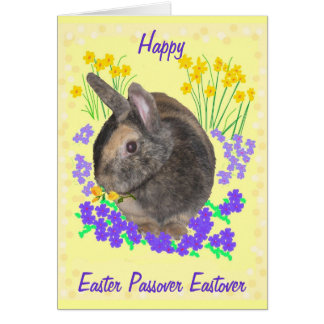 Cute Rabbit and flowers Easter, Passover, Eastover Card