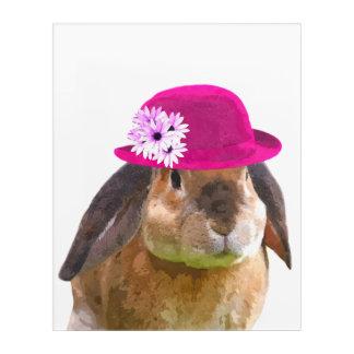 Cute rabbit farm animal watercolor acrylic print