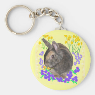 Cute Rabbit Photo and flowers Basic Round Button Keychain