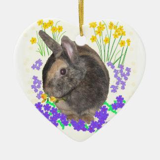 Cute Rabbit Photo and flowers Ceramic Heart Ornament